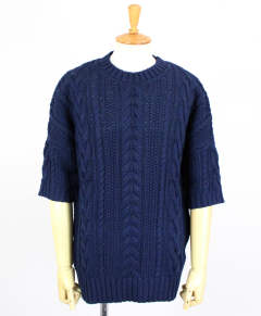 クルーネックニット / Drop shoulder cable crew neck middle sleeve / [NB051-CT01] / NAVY