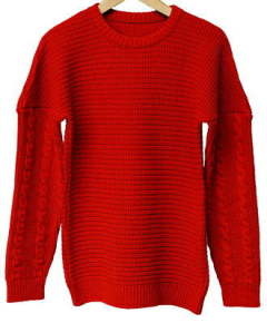 drop shoulder waffle rope knit / RED / [RC9-K-001]