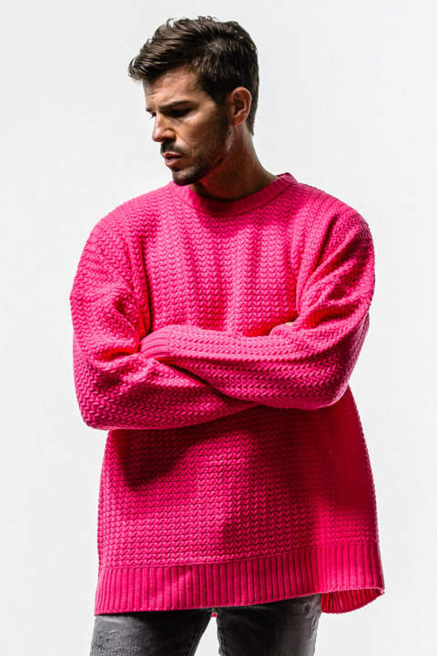 RESOUND CLOTHING / リサウンドクロージング / weaving stitch loose sweater / PINK