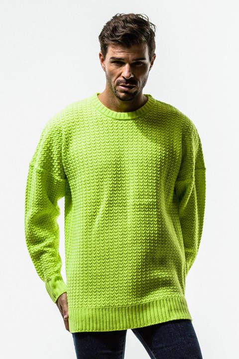 RESOUND CLOTHING / リサウンドクロージング / weaving stitch loose sweater / LIME
