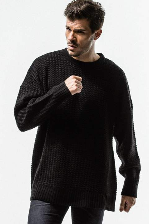 RESOUND CLOTHING / リサウンドクロージング / weaving stitch loose sweater / BLACK
