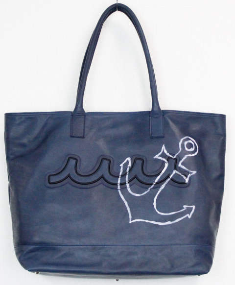 ACANTHUS×muta / アカンサス×ムータ / ACANTHUS×muta light weight leather muta hand paint tote bag / navy
