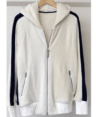 ベロアフリースラインジップパーカー / Velours fleece LINE ZIP UP Hoodie / WHITE [RC10-C-003]