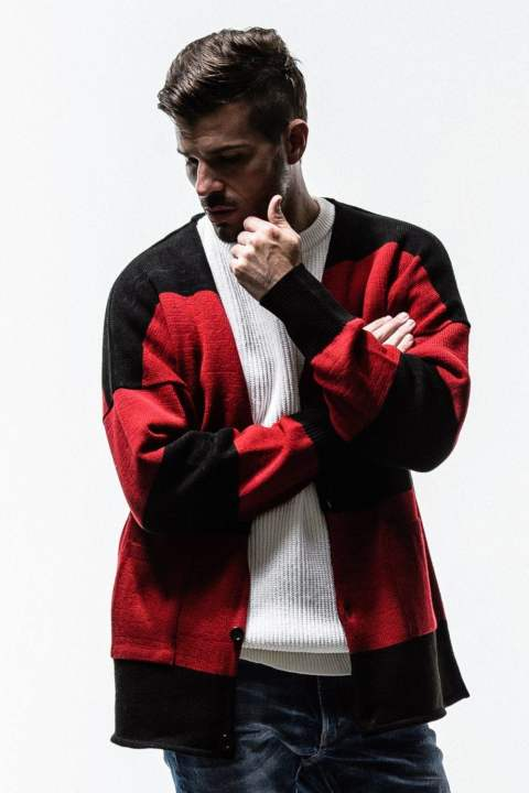 PILE loose cardigan / BKRED / [RC13-K-004]