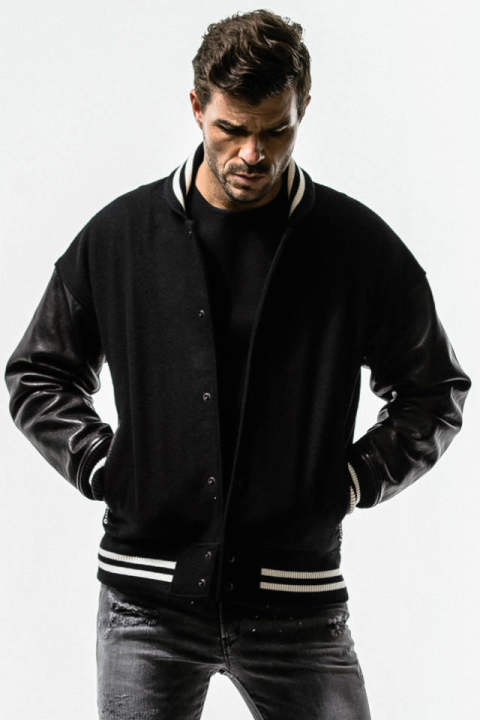 DOROP VARSITY JACKET / BLACK / [RC14-JK-001]