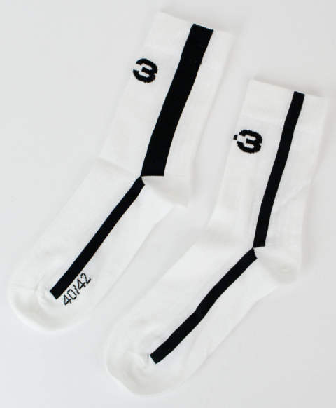 ソックス Y-3 LOGO SOCK [FR2827-ACCS20] CORE WHITE 076A/BLACK 852A