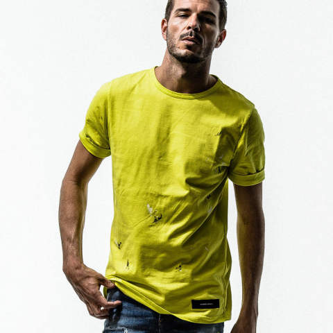 PEINT ROLL UP TEE / LIME [RC15-T-002]