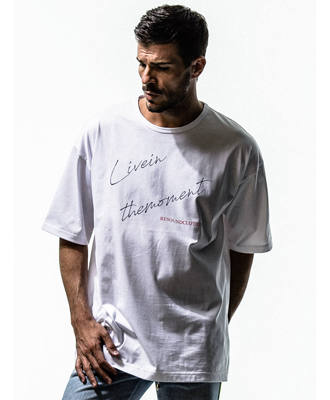 LIVE IN THE MORMENT LOOSE TEE / WHITE1 [RC15-T-003]