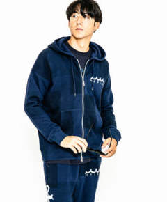 ACANTHUS×muta / スウェットパーカー / ネイビーパッチワーク / freedom sleevemuta zip-up parka MA2004 / NAVY PATCHWORK